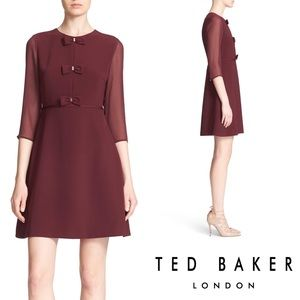 NWT Ted Baker Finna Bow Dress in Maroon